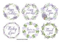 FabScraps Lavendar Breeze Stickers - Lavender Wreaths