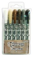 Tim Holtz Distress Crayons Set #3 (Antique Linen/Vintage Photo/Walnut Stain/Hickory Smoke/Black Soot/Picket Fence)