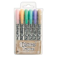 Tim Holtz Distress Crayons Set #5 (Spun Sugar, Dried Marigold, Cracked Pistachio, Tumbled Glass, Shaded Lilac, Frayed Burlap)