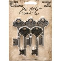 Tim Holtz Idea-Ology Christmas; Antique Nickel & Brass Metal Word Keys