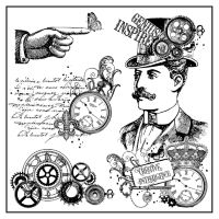 Stamperia High Definition Stamp 10cmx10cm - Time is an Illusion Steampunk Gentleman