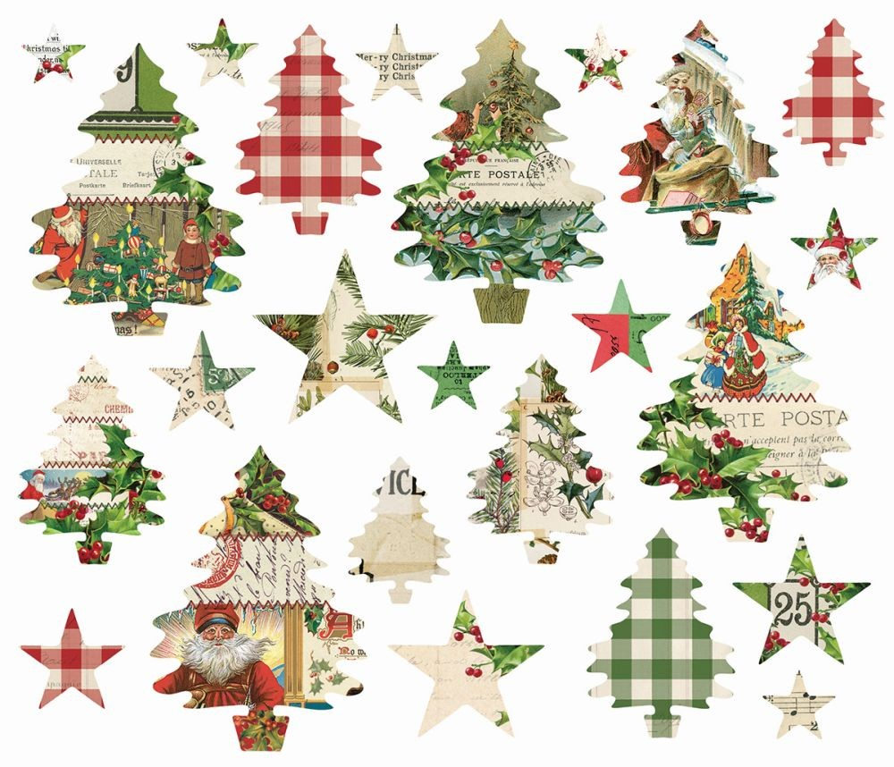 simple vintage christmas trees stars die cuts by simple stories for scrapbooks cards crafting