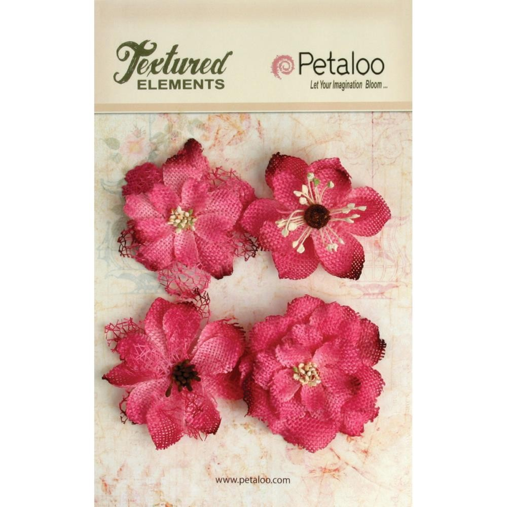 "Petaloo Textured Elements Burlap 2.25"" Flowers x4 - Fuchsia"