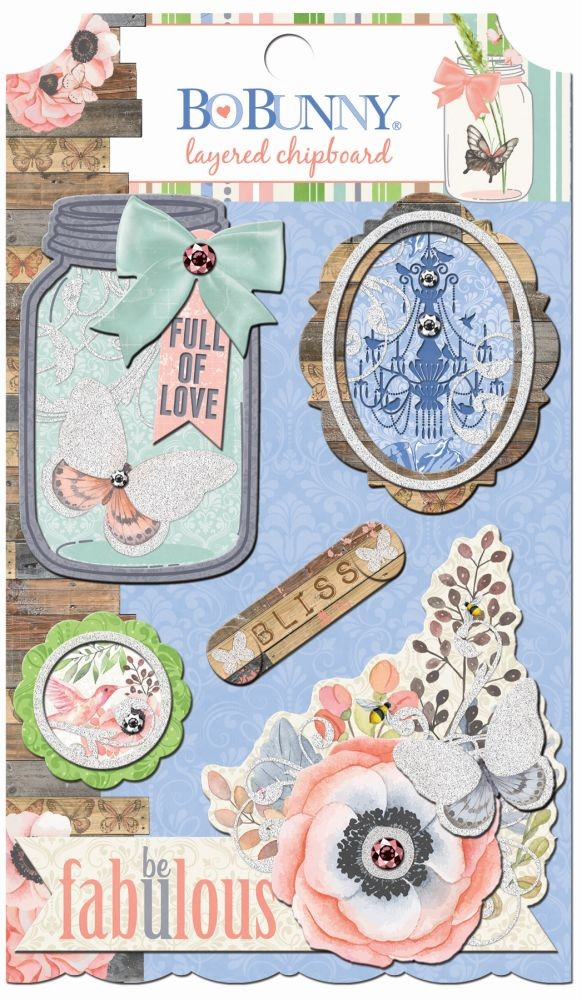 Bo Bunny Butterfly Kisses Layered Chipboard