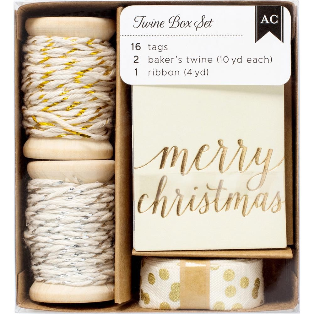 American Crafts Holiday Tag & Twine Box - Gold & Silver Tags, Twine, Ribbon