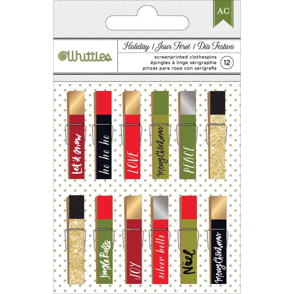 American Crafts Whittles Christmas Clothespins - Phrase 12/Pkg