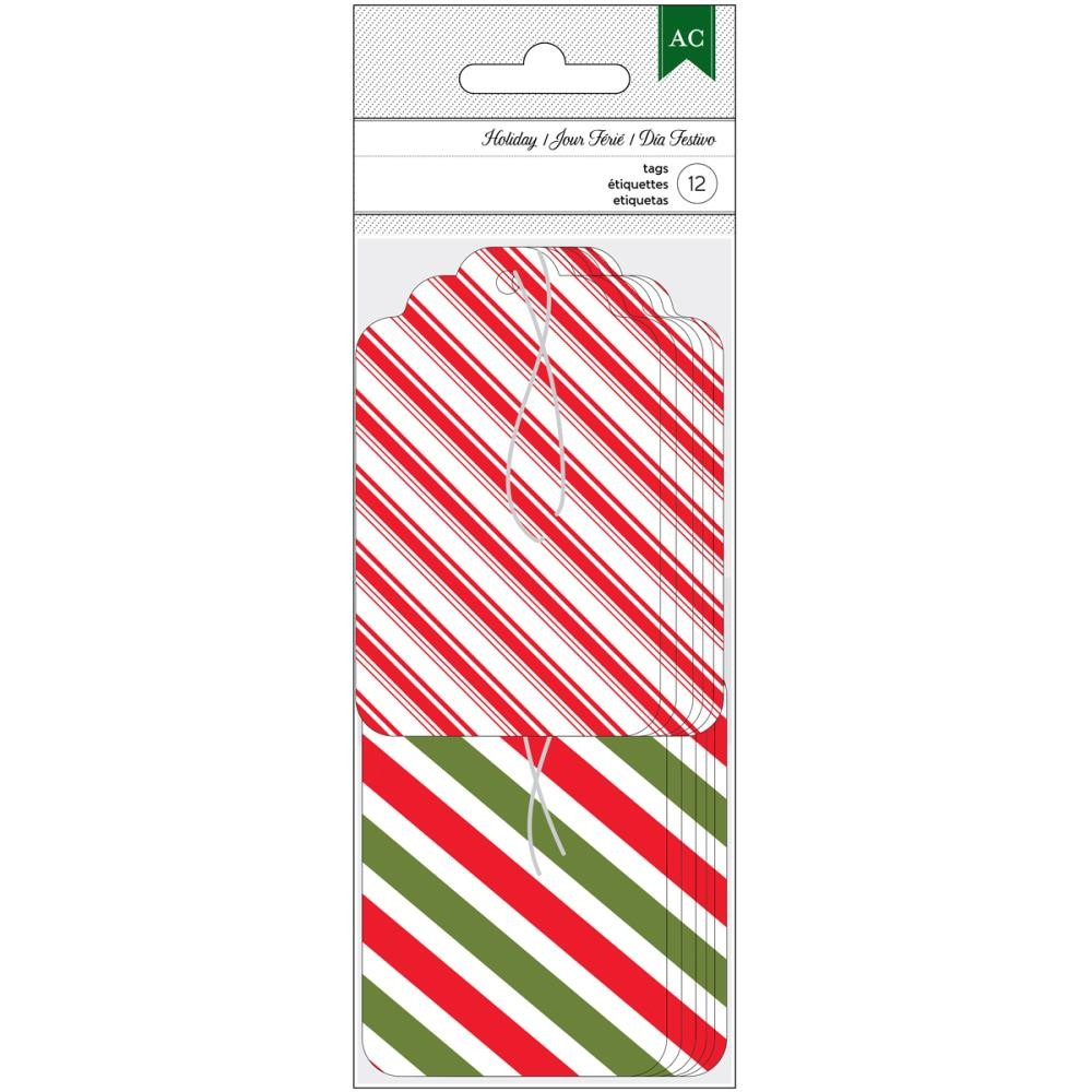 "American Crafts Holiday Tags -2""X3.25"" Red, Green & White Stripe"