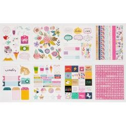 American Crafts Shimelle Glitter Girl Sticker/Washi Book 342/Pkg w/Foil