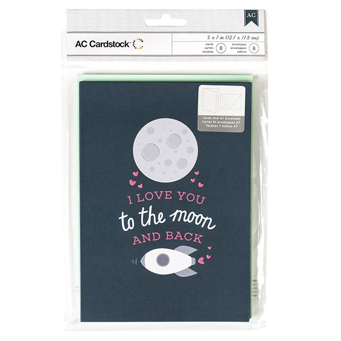 American Crafts Moon & Back Card Set - 5 x 7