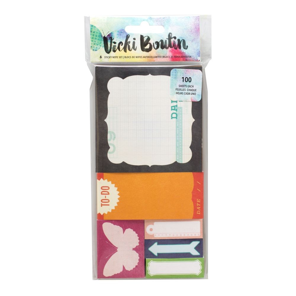 American Crafts Vicki Boutin Mixed Media - Sticky Note Set- (6 Pads)