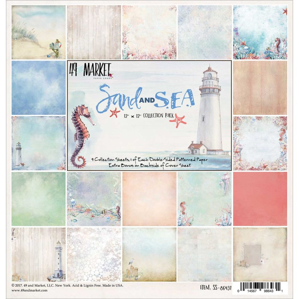 "49 and Market Sand & Sea Collection Pack 12""x12"""
