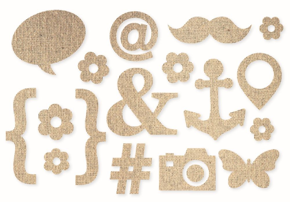 Simple Stories DIY - Burlap Stickers - Icons