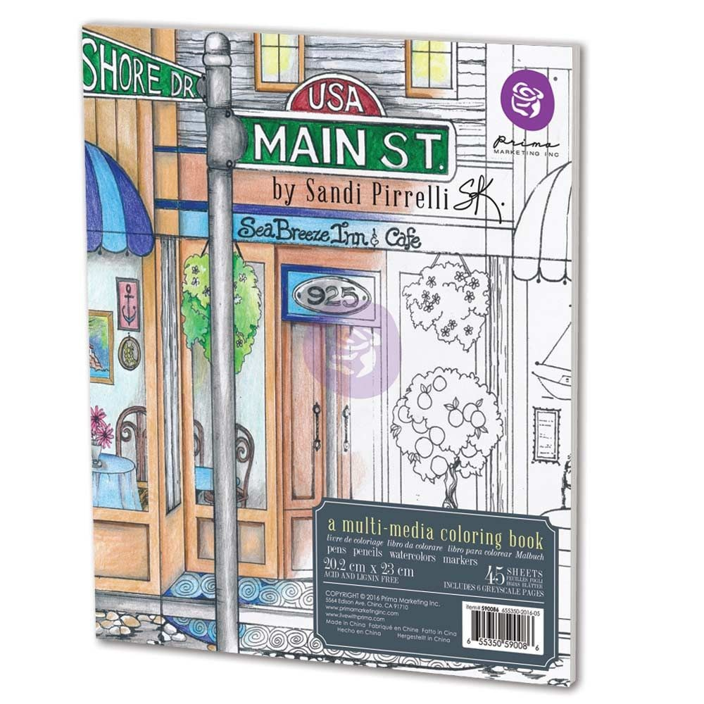 Watercolor paper coloring book - Sandi Pirrelli Coloring Book Main Street By Prima Marketing For Scrapbooks Cards Crafting