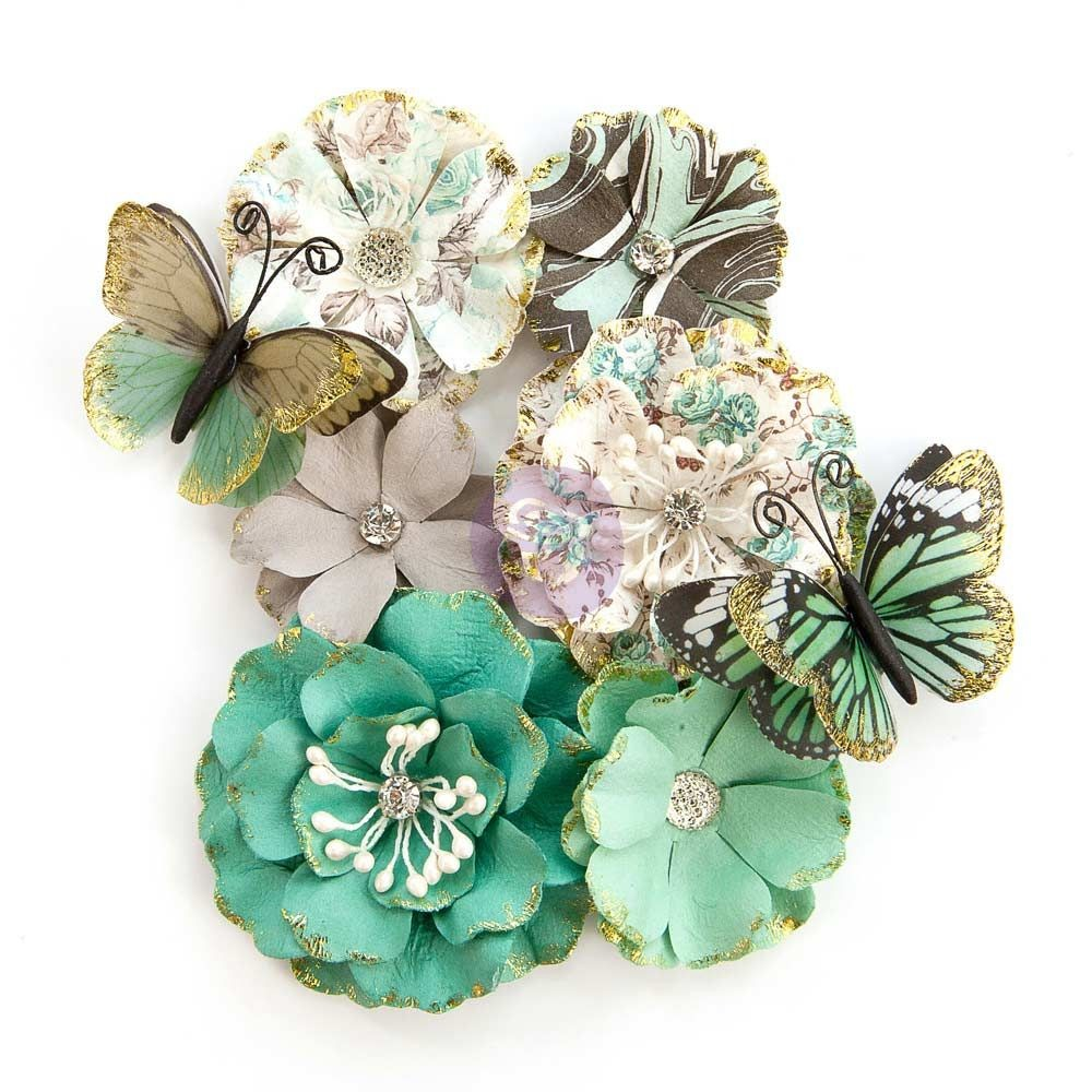 "Prima Marketing Zella Teal- Flowers ""Butterfly Kisses"""