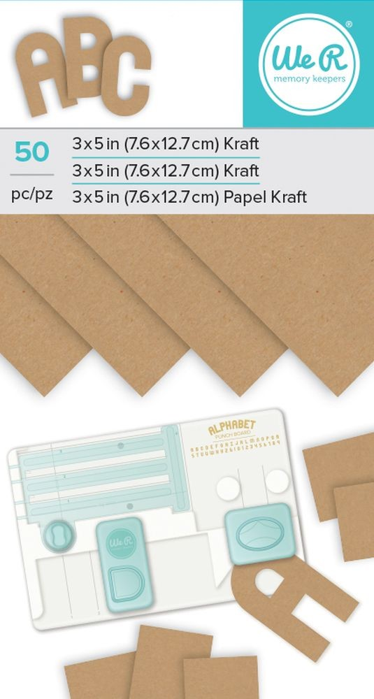 We R Memory Keepers Alphabet Punch Board Paper Pad - Kraft