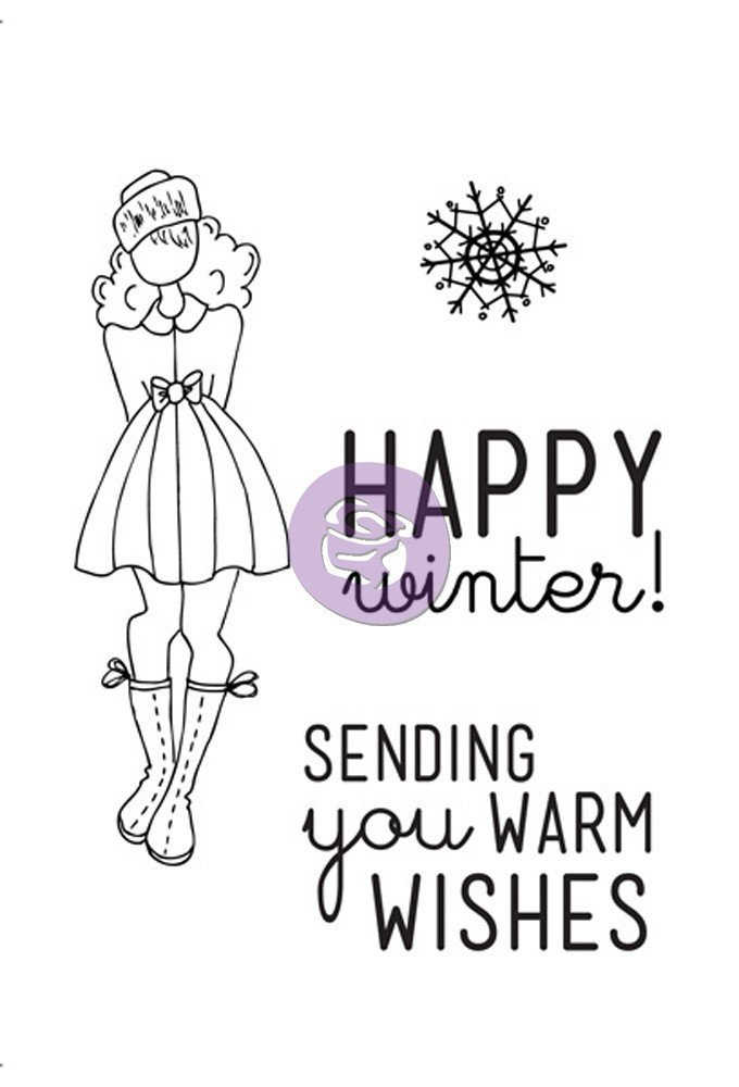 "Prima Marketing Julie Nutting Doll Stamp - Warm Wishes Set 4""X6"" Kit"