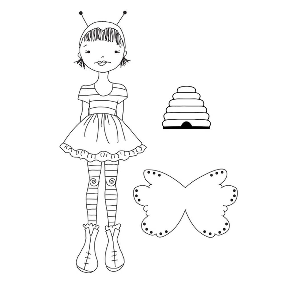 Prima Marketing Julie Nutting Doll Stamps-Bee Girl