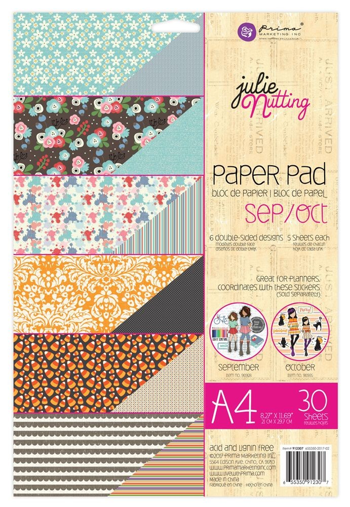 Prima Marketing Julie Nutting A4 Paper Pad Sep-Oct Patterns