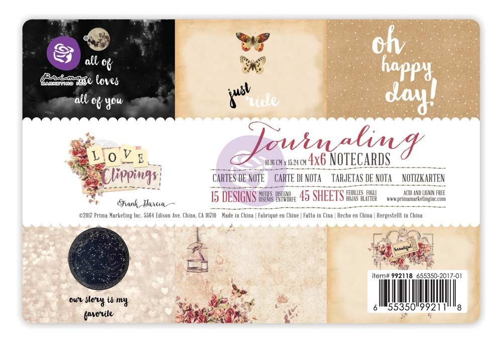 Prima Marketing 4x6 Journaling Notecards-Love Clippings