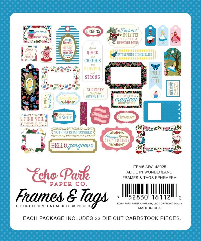 Alice In Wonderland Frames Tags By Echo Park Paper For Scrapbooks