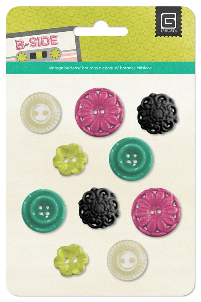 Basic Grey B-Side - Resin Flower Buttons