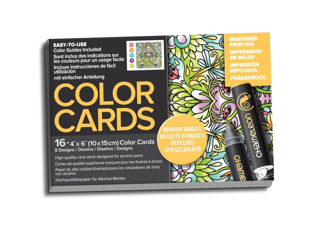 Chameleon Mirror Images Color Cards with Embossed Lines