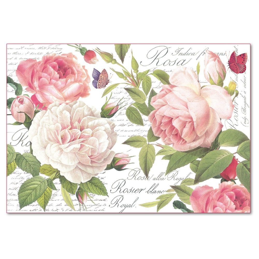 Stamperia Decoupage Rice Paper 48x33 Vintage Rose