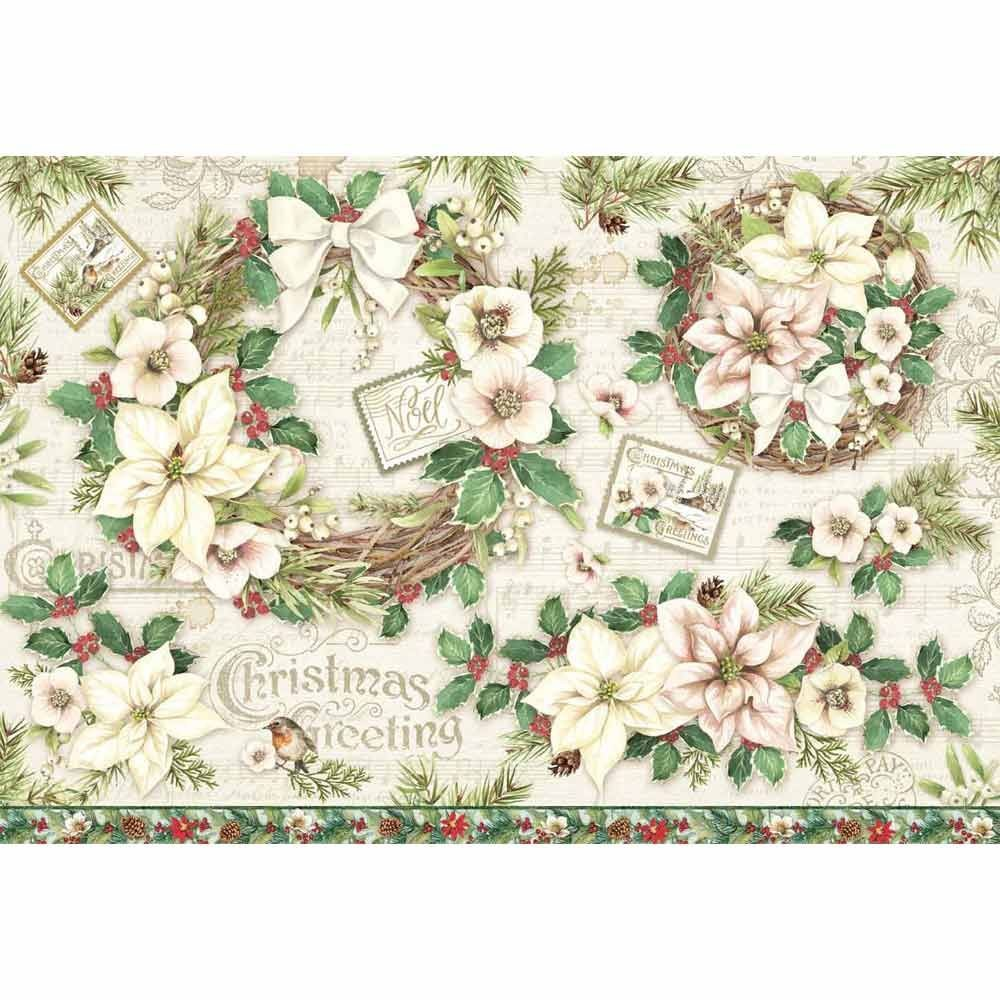 Decoupage Rice Paper 48x33 Garland And Flowers By Stamperia For