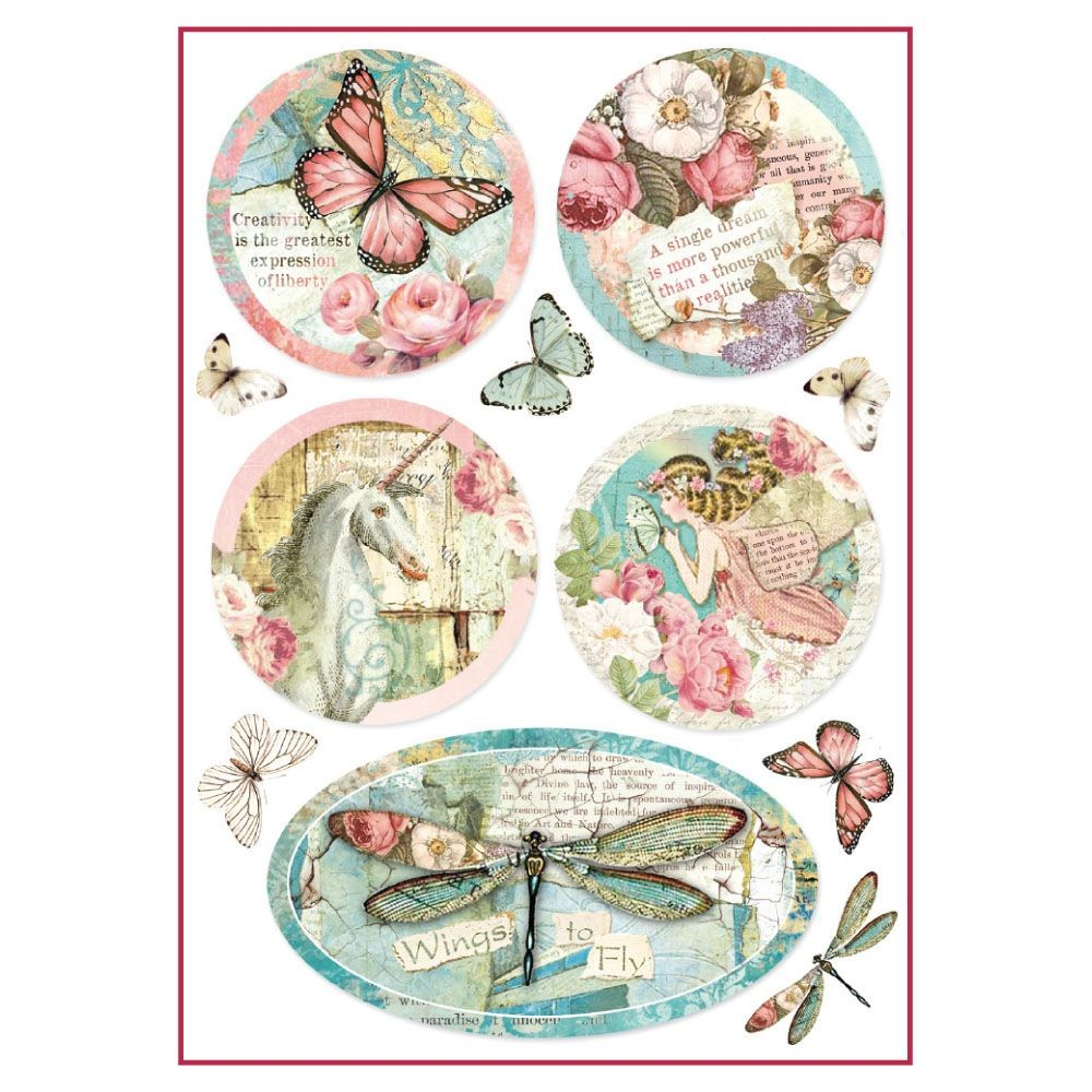 Stamperia A4 Decoupage Rice Paper Packed Wonderland fantasy decorations