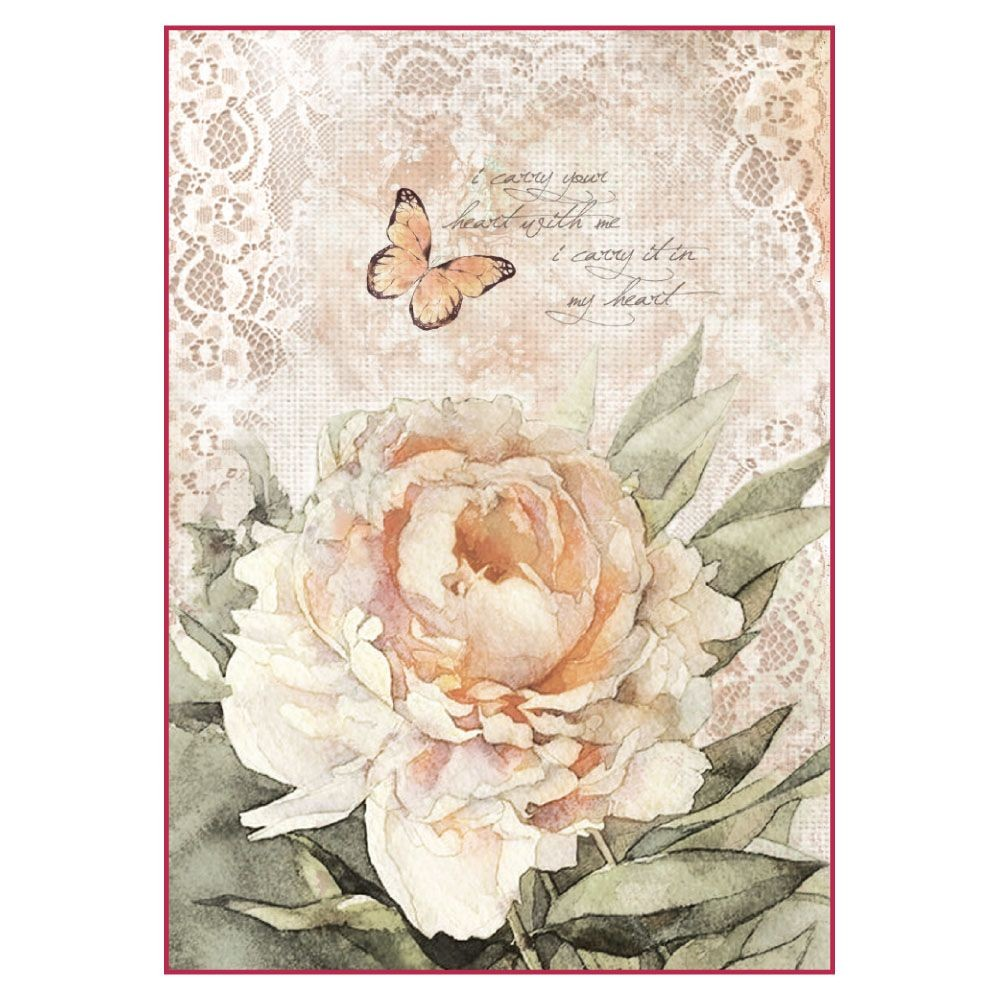 A4 Decoupage Rice Paper Packed Vintage Rose And Laces By Stamperia