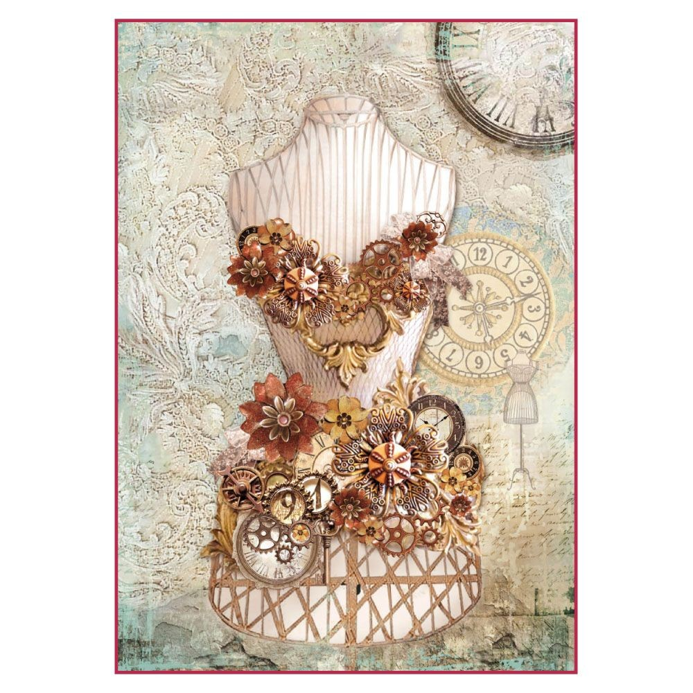 Stamperia A4 Decoupage Rice Paper Packed Clockwise mannequin