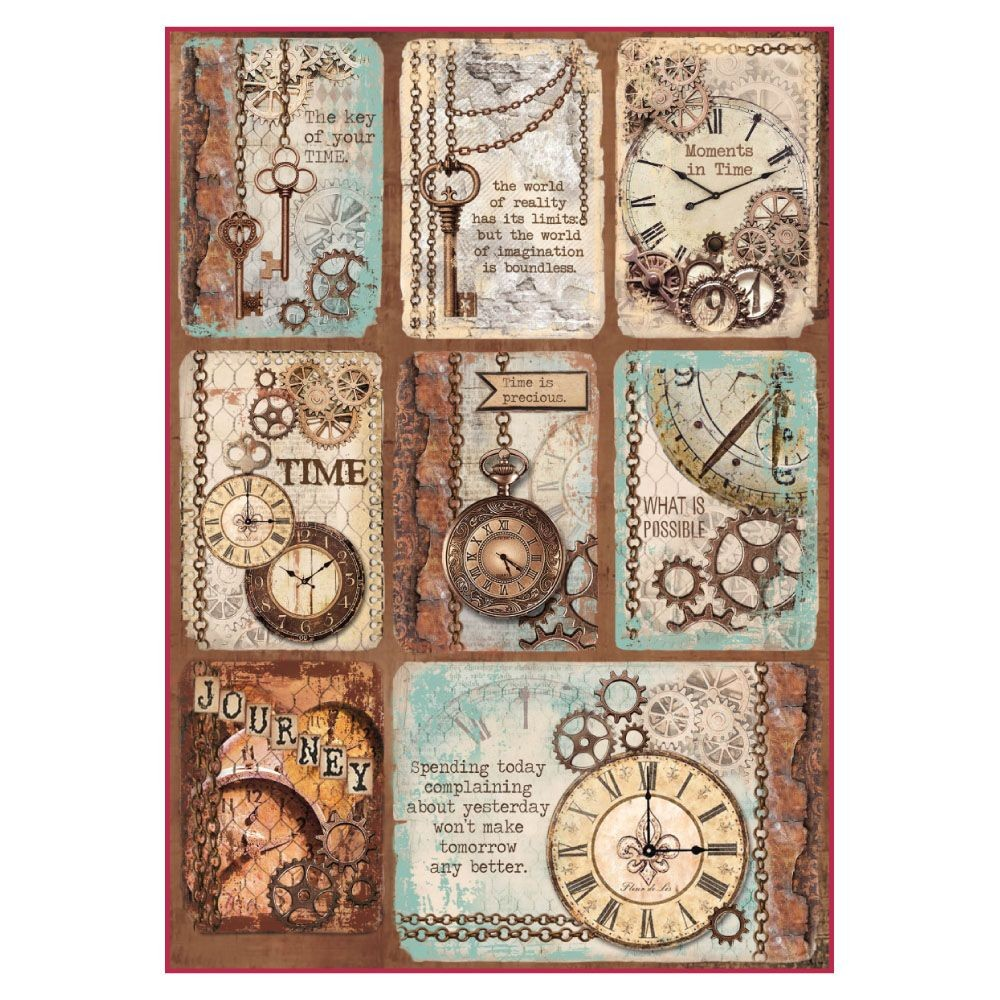 Stamperia A4 Decoupage Rice Paper Packed Clockwise cards