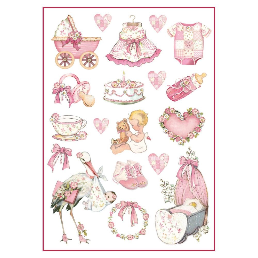 Stamperia A4 Decoupage Rice Paper Packed Baby Girl decorations