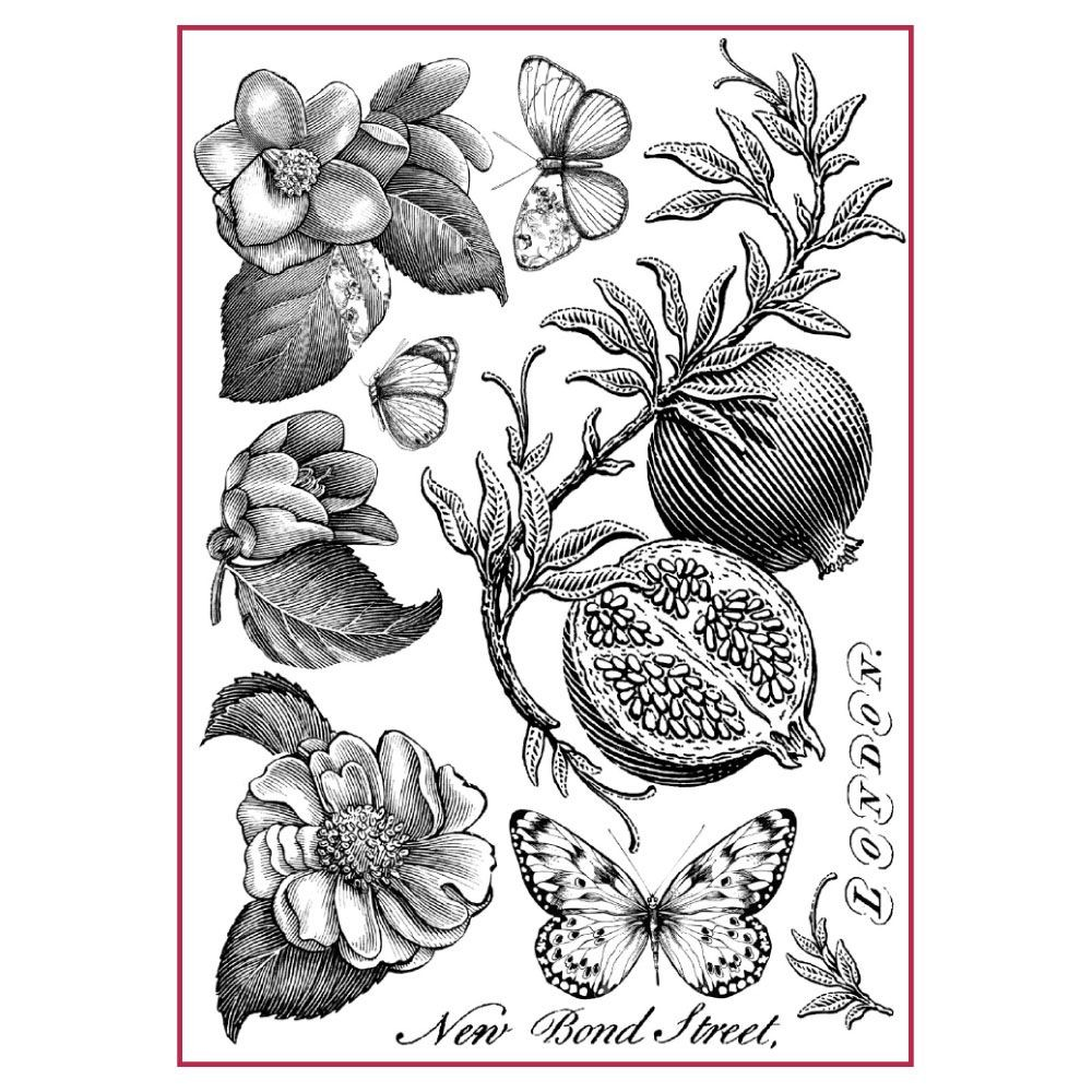 Stamperia A4 Decoupage Rice Paper Packed Pomegranate B/W
