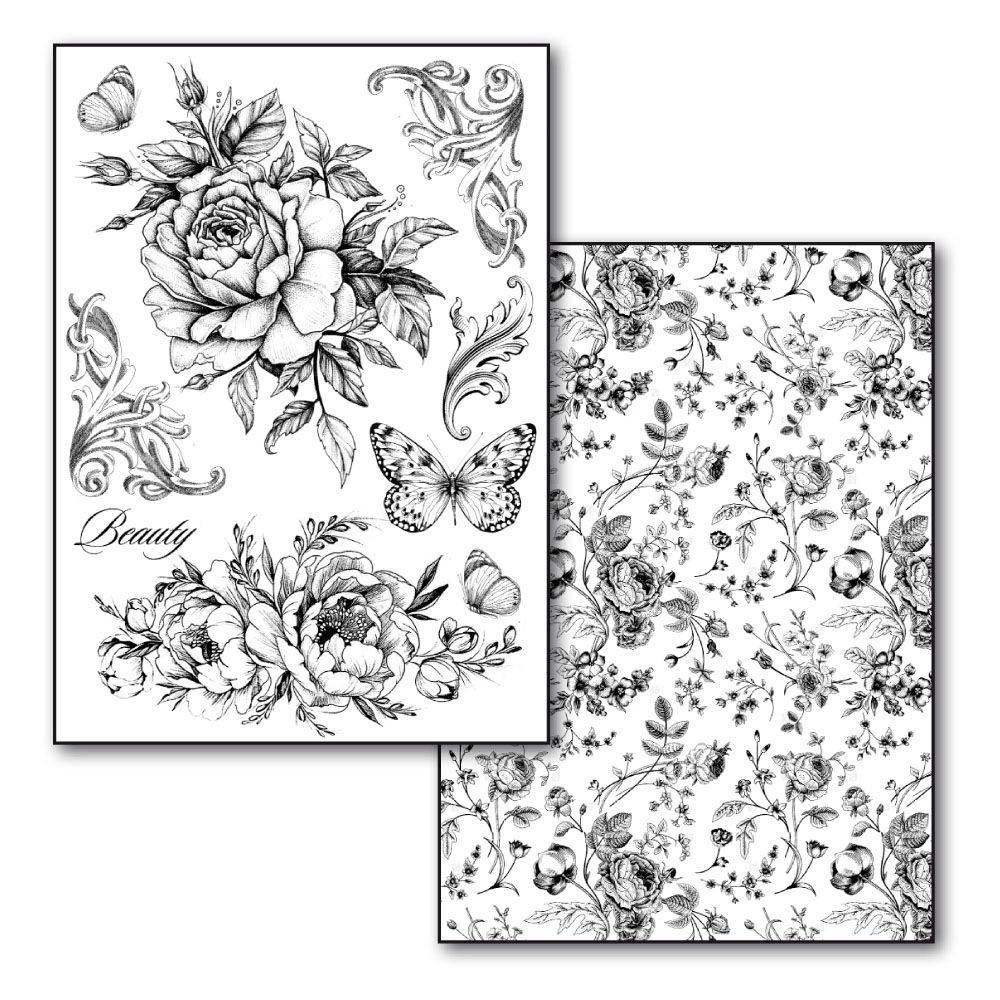 Stamperia Transfer Paper A4 size B/W - 2 sheets pack  Roses and Butterlies