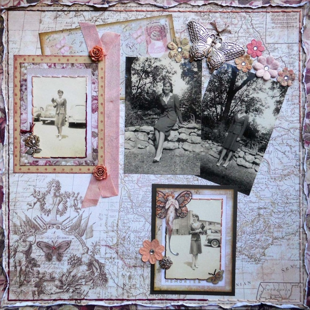 FotoBella Page of the Month Layout Kit July 2016 - Featuring Prima Butterfly