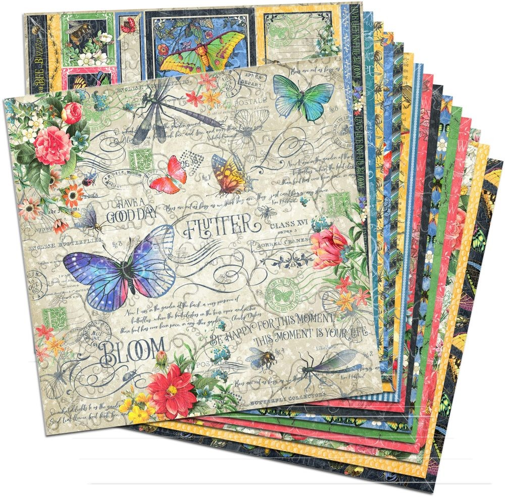 flutter 12x12 paper pack 16 sheets by graphic 45 for scrapbooks