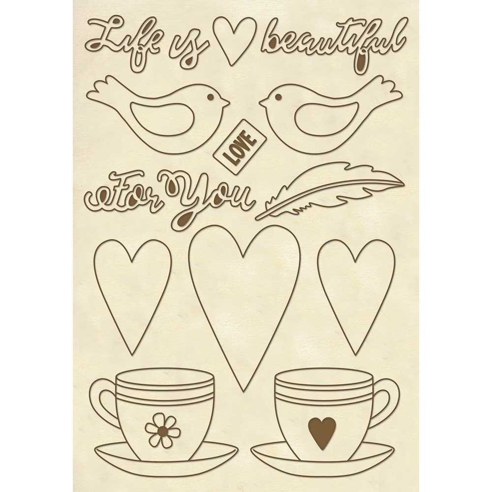 "Stamperia Wooden frame A5 size ""Life is beautiful"" cup"