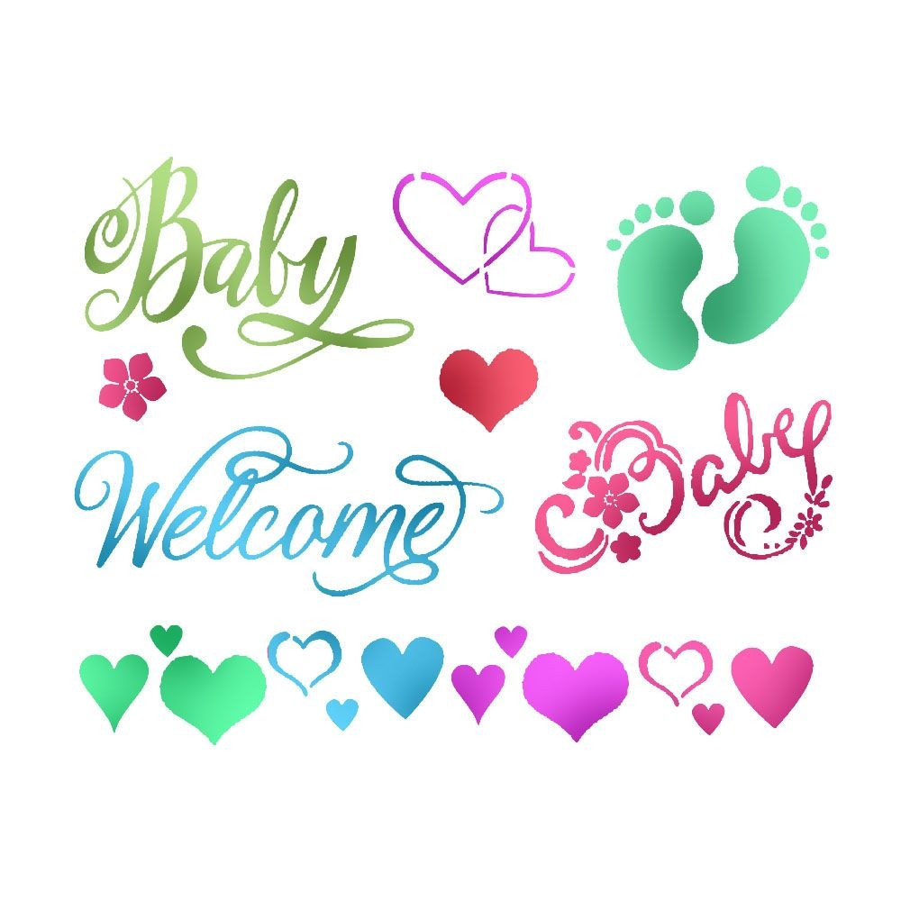 Stamperia Stencil D  cm. 20x15 Baby Welcome