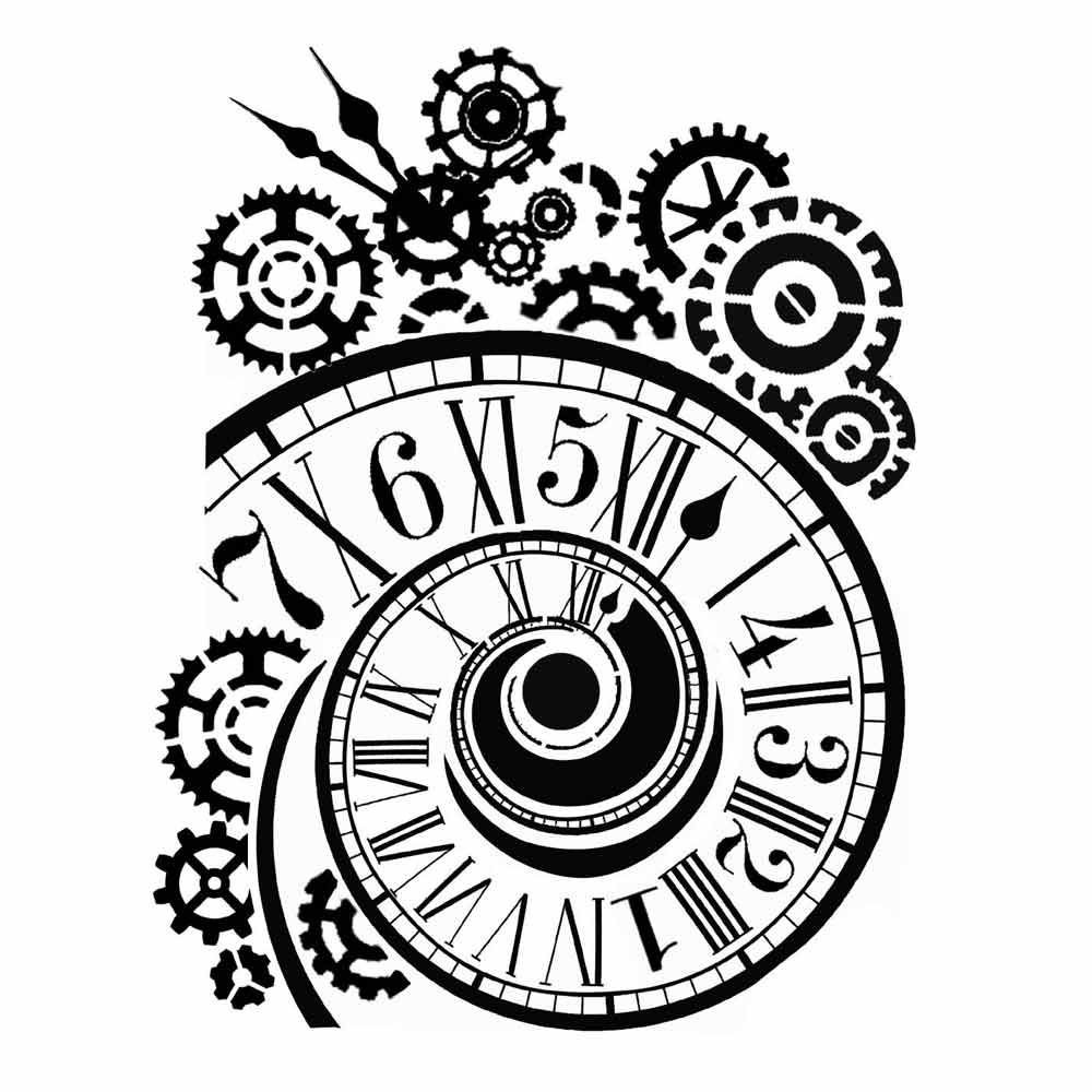 Thick Stencil 20x25 Cm Clock And Mechanisms By Stamperia
