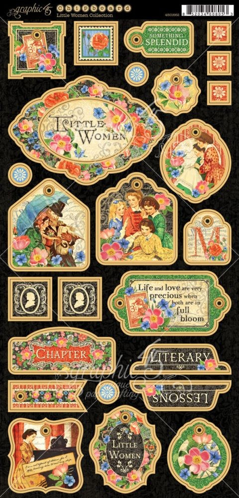 Graphic 45 Little Women Chipboard