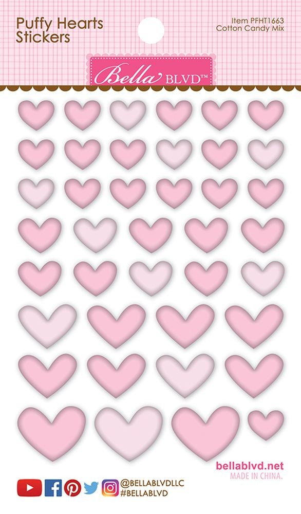 Bella Blvd Puffy Hearts Stickers - Cotton Candy Mix