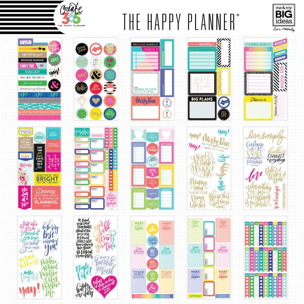 Create 365 the happy planner sticker value pack quotes for Me my big ideas planner