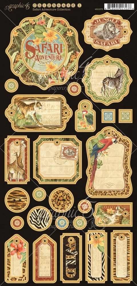 Graphic 45 Safari Adventure Journaling Chipboard
