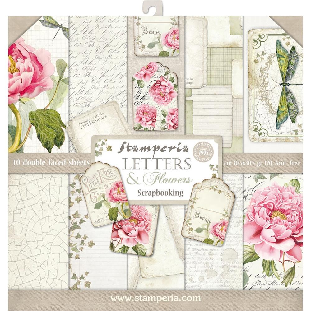 12x12 paper pad letters flowers 10 double sided. Black Bedroom Furniture Sets. Home Design Ideas