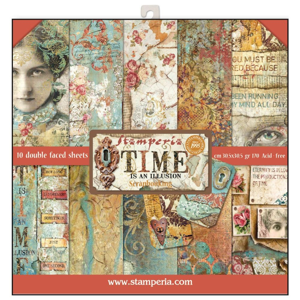 Stamperia 12x12 Paper Pad - Time is an Illusion (10 Double Sided Sheets)
