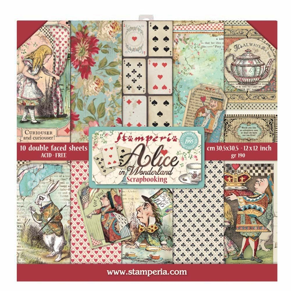 Stamperia 12x12 Paper Pad - Alice (10 Double Sided Sheets)