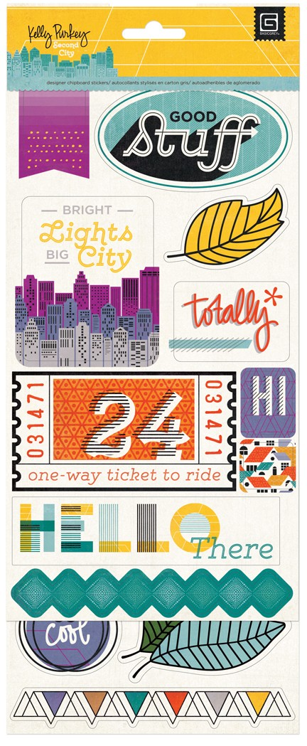 Basic Grey Second City Printed Chipboard Shapes