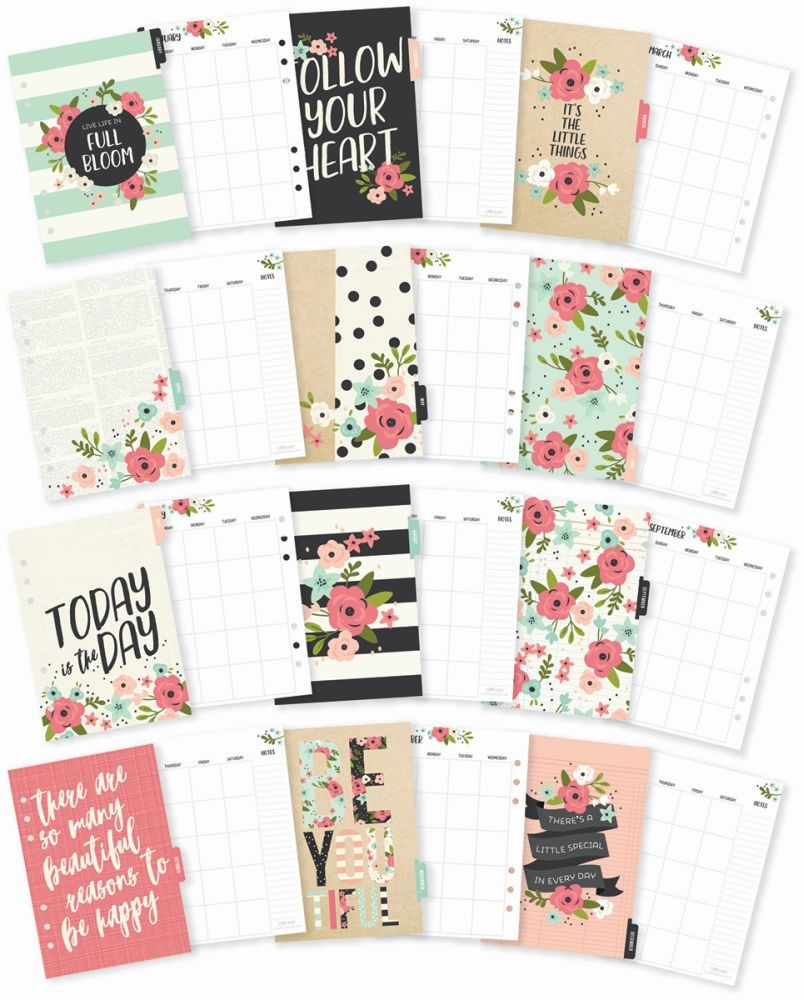 carpe diem bloom a5 monthly planner inserts by simple stories for