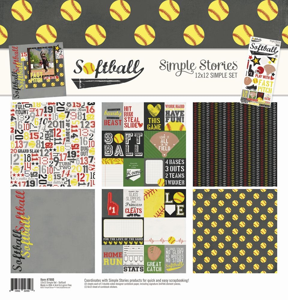 Simple Stories Softball Simple Set 12x12 Collection Kit